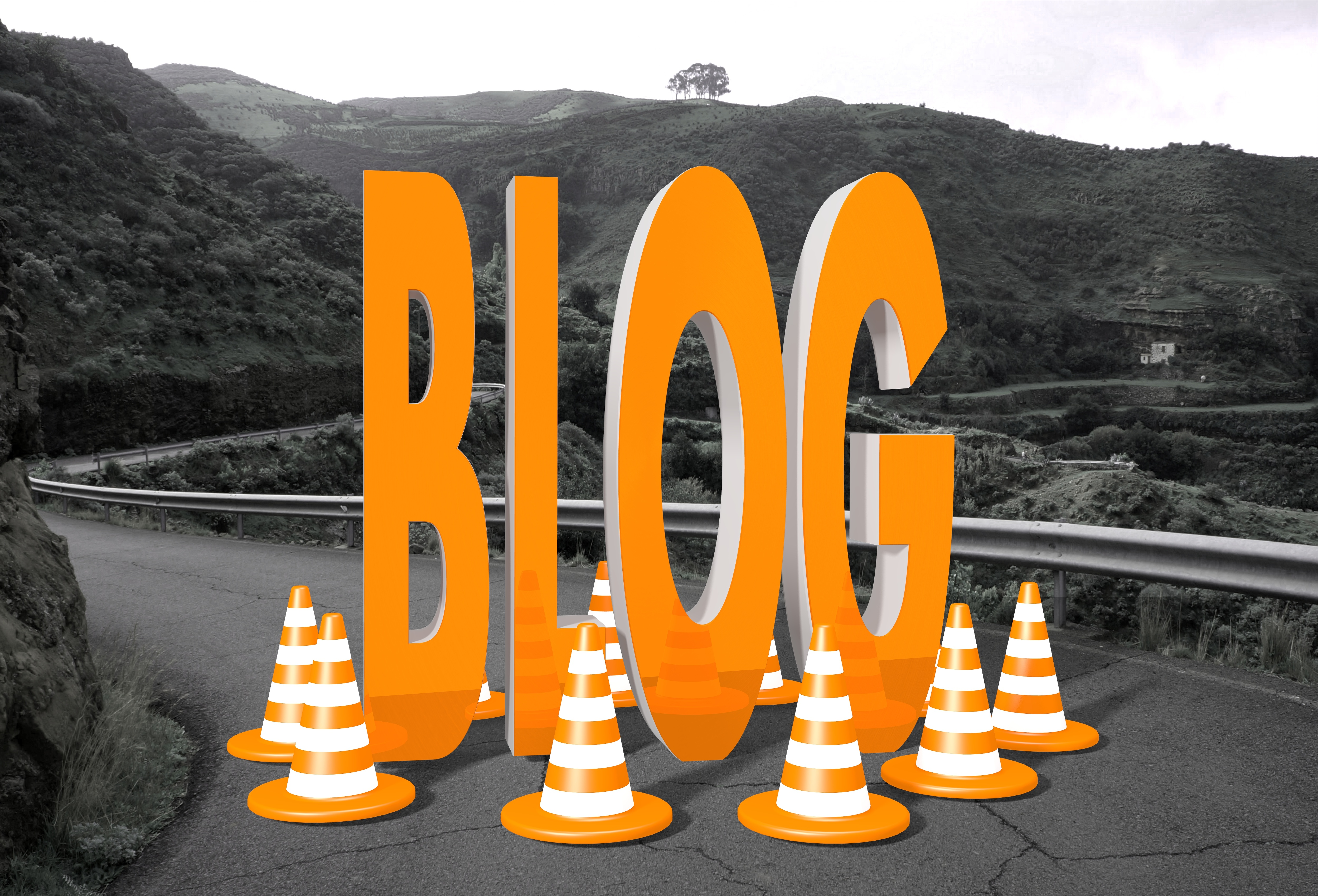 blog symbol on a road