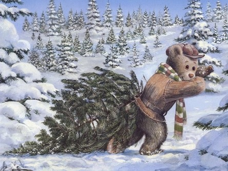 christmas tree, christmas tree, cold, december, fir tree, forest, frosty, getting, hat, painting, snow, tedy, winter